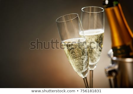 Champagne fles emmer stenen muur ruimte wijn Stockfoto © karandaev