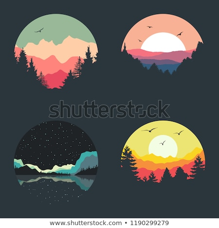 silhouette scene of mountains at sunset stock photo © colematt