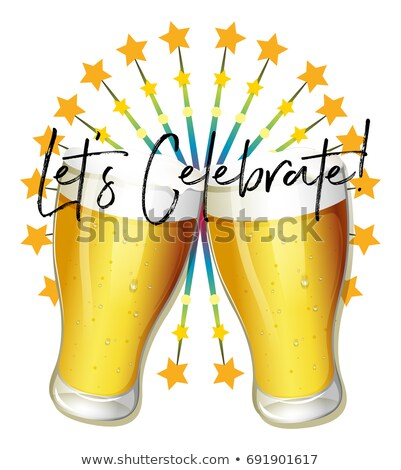 Word expression for let's celebrate with two glasses of beer Stock photo © colematt