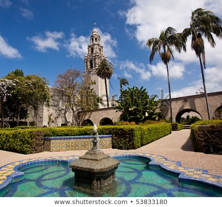 California Tower from Alcazar Gardens in Balboa Park Stock photo © backyardproductions