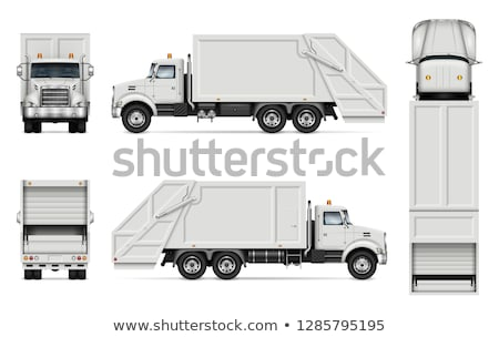 Realistic garbage truck vector mockup Stock photo © YuriSchmidt
