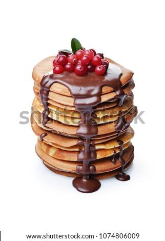 delicious pancakes with chocolate drops stock photo © melnyk