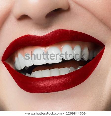 Makro mutlu gülümseme sağlıklı beyaz diş kırmızı dudaklar Stok fotoğraf © serdechny