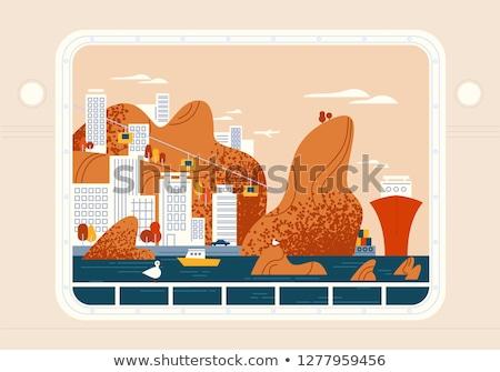 Jacht budynków ilustracja tabeli kanapie jacuzzi Zdjęcia stock © lenm