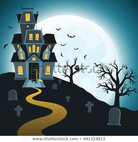 Halloween Haunted House and Bat Cartoon Scene Stock photo © Krisdog