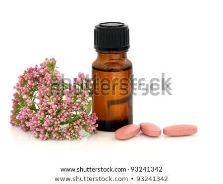 Pílulas flores marrom branco dormir adormecido Foto stock © Saphira