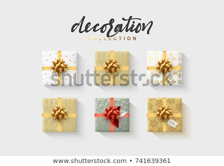 Realista caja de regalo rojo arco aislado gris Foto stock © olehsvetiukha