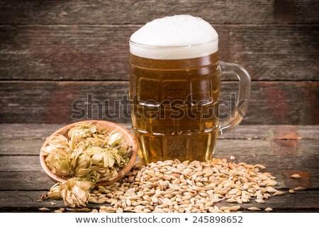Koud fles bier oude houten vat Stockfoto © DenisMArt