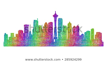 Abstract Seattle kleur gebouwen Stockfoto © ShustrikS