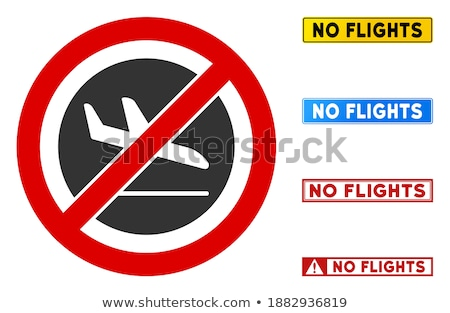Prohibition sign with crossed out plane on the background of German flag. Stock photo © artjazz