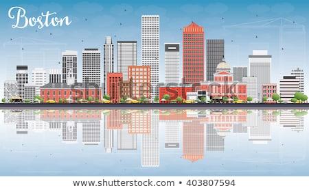 Boston linha do horizonte cinza vermelho edifícios blue sky Foto stock © ShustrikS