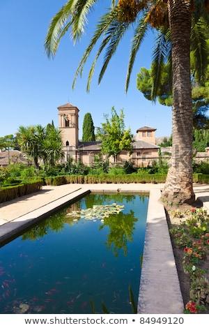 Alhambra de Granada. Convento de San Francisco behind a pond Stock photo © HASLOO