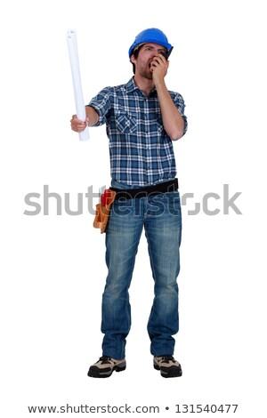 Tradesman screaming into his walkie-talkie Stock photo © photography33