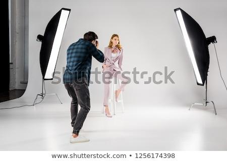 Fotografo tiro teleobiettivo lenti poco profondo faccia Foto d'archivio © ArenaCreative
