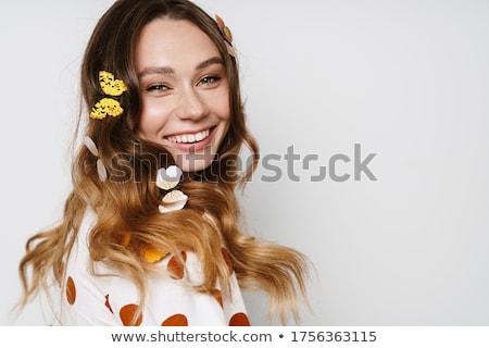 seksueel · vrouw · poseren · witte · muur · brunette - stockfoto © chesterf