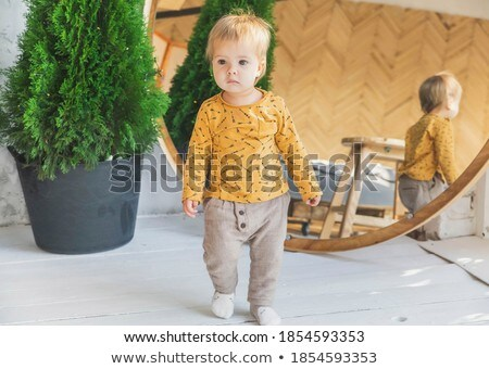 Beautiful blond girl stands near the mirror Stock photo © Nejron