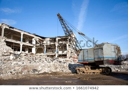 Сток-фото: крушение · экскаватор · работу · здании · стены · рок