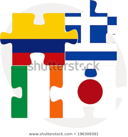 Colombia, Greece, Ivory Coast,  Japan Flags in puzzle Stock photo © Istanbul2009