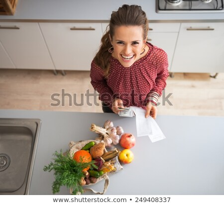 Woman eating maize corn, top view Stock photo © stevanovicigor
