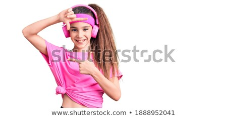 Stock photo: Girl wearing sport clothes gesturing frame
