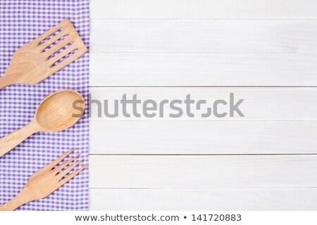 Mor masa örtüsü beyaz ahşap doku Stok fotoğraf © Zerbor