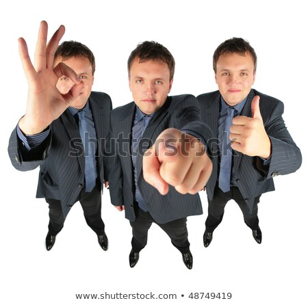 Three businessmen, two with ok gesture and one showing to you, c Stock photo © Paha_L