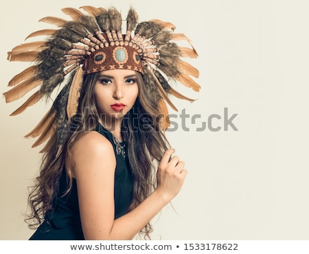 Stock photo: Indian woman with axes on white