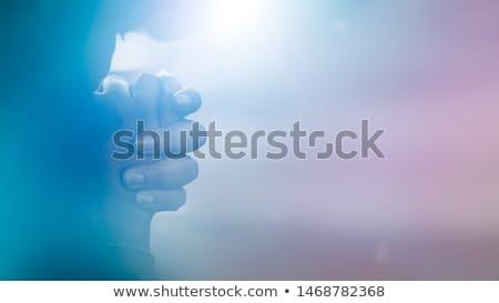 Ima iszlám lány kezek arc absztrakt Stock fotó © zurijeta
