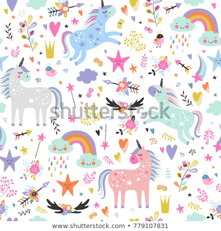 Stock photo: Seamless background with girl cartoon elements