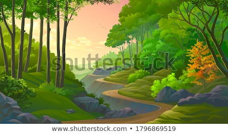 forest scene with trees on the cliff stock photo © bluering