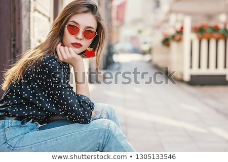 Lady in dots. Stock photo © Fisher