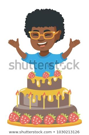 feliz · desenho · animado · preto · menino · saltando · jovem - foto stock © rastudio