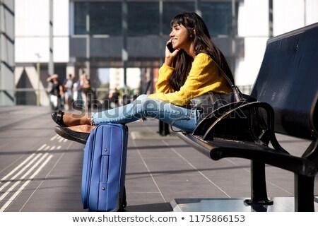 indiai · nő · bőrönd · beszél · telefon · üzletasszony - stock fotó © studioworkstock