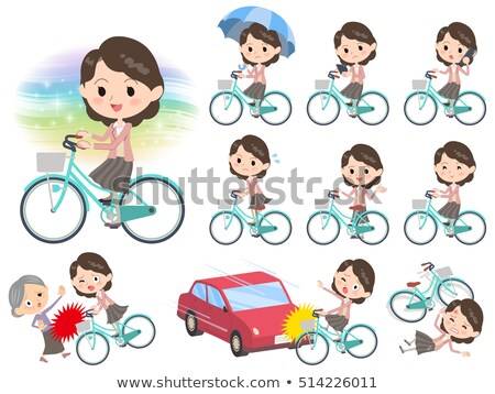 Stock photo: Pink wear Middle woman ride on city bicycle