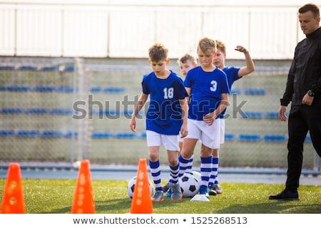 Schooljongen Blauw sport oefening ingesteld Stockfoto © toyotoyo