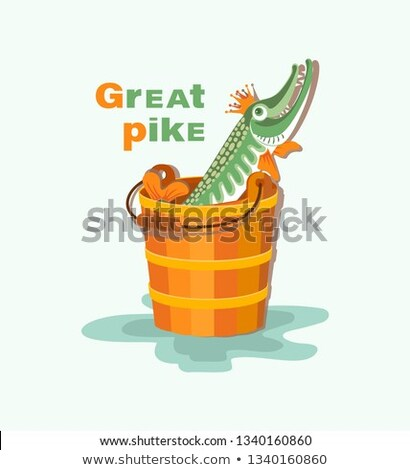 Green talking pike with a golden crown in a wooden bucket isolated on white background. The characte Stock photo © Lady-Luck