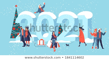 merry christmas and happy new year calligraphic inscription red background vector illustration stock photo © ikopylov