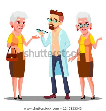Európai szemorvos orvos szemüveg öregasszony beteg Stock fotó © pikepicture