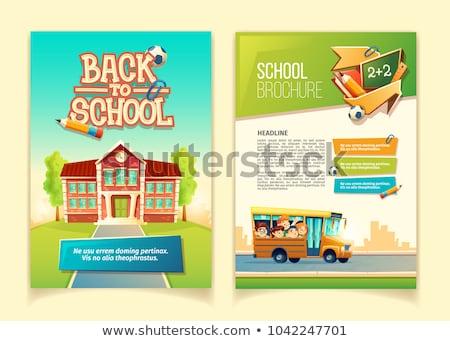 kinderen · boeken · terug · naar · school · vector · poster · schoolkinderen - stockfoto © robuart