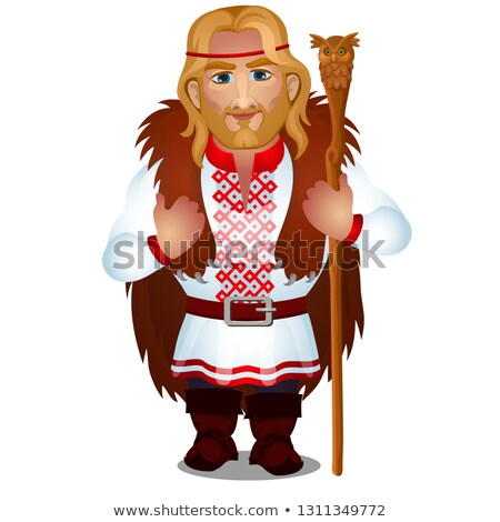 Slavic man in embroidered shirt or vyshyvanka with bear skin and a magic staff isolated on white bac Stock photo © Lady-Luck