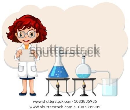 a female scientist experiment template stock photo © colematt
