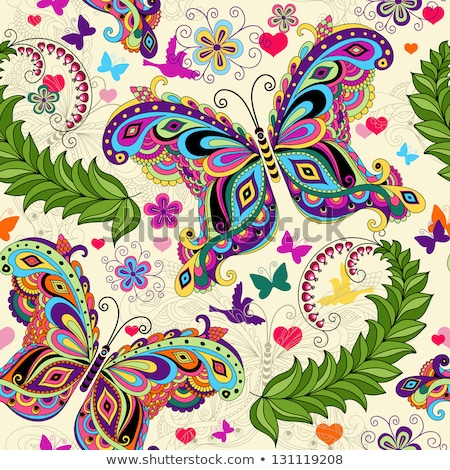 attern with butterflies and Paisley Floral Butterfly abstract ba Stock photo © Margolana