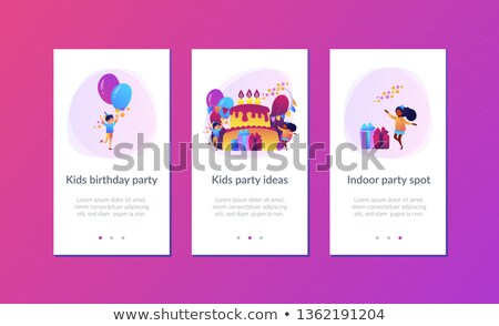 çocuklar · doğum · günü · partisi · modern · renkli · vektör · grup - stok fotoğraf © rastudio