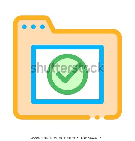 Számítógép mappa elismert osztályzat vektor ikon Stock fotó © pikepicture