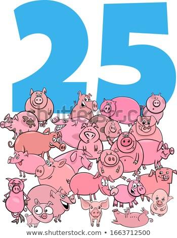 Número vinte cinco desenho animado porcos grupo Foto stock © izakowski