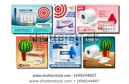Hemorrhoids Suppositories Promo Banners Set Vector Stock photo © pikepicture