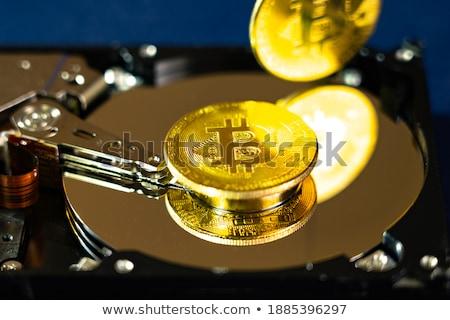 Bitcoin érme hdd érmék telefon technológia Stock fotó © olira