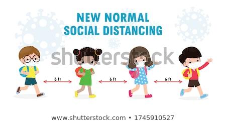 Iskolás lány rajzfilmfigura visel maszk illusztráció gyerekek Stock fotó © bluering