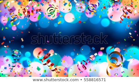 Bright colorful confetti and serpentine on dark background, anniversary party seamless pattern Stock photo © evgeny89