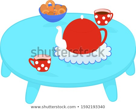 turquoise tea table with cookies and teapot Stock photo © Hipatia